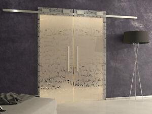 Porta Scorrevole Vetro Temperato Esterno Muro Doppia Binario Softclose Decorata Ebay