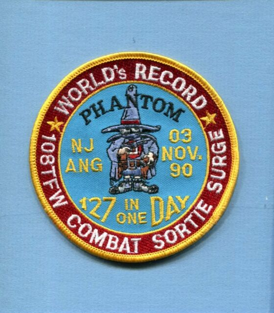 108th TFW RECORD COMBAT SORTIE NJ ANG USAF McDONNELL F-4 PHANTOM Squadron Patch