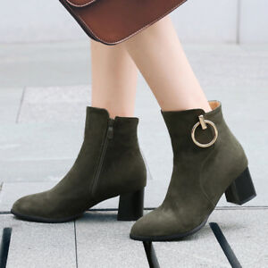 Women-039-s-Zip-Med-Heel-Faux-Suede-Ankle-Boots-Metal-Decor-Shoes-UK-Plus-Size-3-10