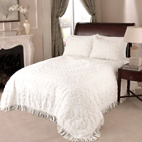 Beatrice Home Fashions Medallion Chenille Bedspread 100% Cotton, Standard, White