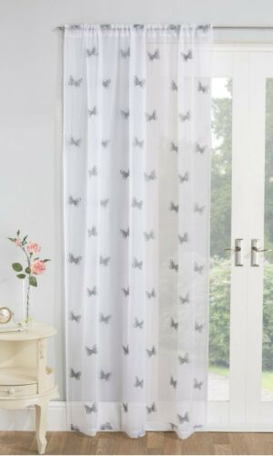 One Single BUTTERFLY Embroidered Voile Curtain Slot Top Header Ready Made Panels