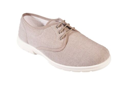 6E Men/'s DB Shoes Troon Lace Up Extra Wide Canvas Summer Shoes Width 4E