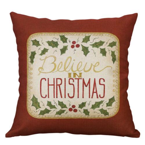 """18/"""" Christmas Style Cotton Linen Pillow Case Throw Cushion Cover Home Décor"""