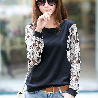New Popular Womens Lace Cotton Tops Tee T-Shirt Batwing Sleeve Blouses Pullover