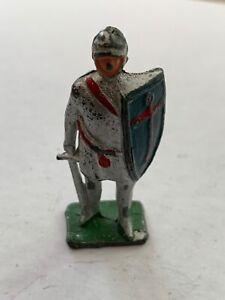 """VINTAGE - TOY LEAD KNIGHT SOLDIER WITH BLUE SHIELD 2"""" TALL"""