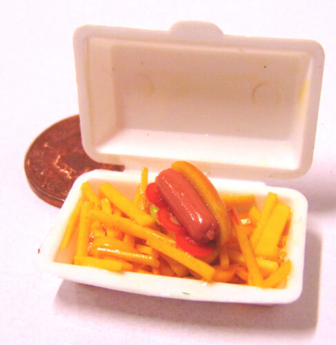 1:12 Scale Take Away Hot Dog /& Chips Tumdee Dolls House Miniature Food Fries