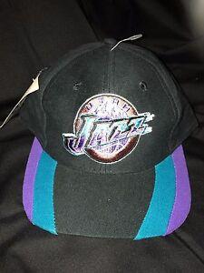 d6c04e0a Vintage 90s NBA UTAH JAZZ Snapback CAP Black Throwback MOUNTAIN Hat ...