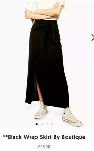 TOPSHOP Boutique Noir Wrap Midi Jupe Uk8New RRP £ 95