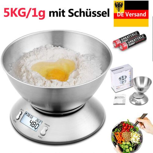 5KG//1g Digitale Küchenwaage Edelstahl LCD Display Haushaltswaage Kitchen Scale
