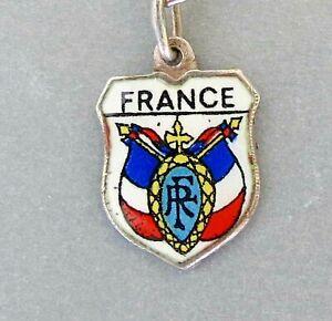 FRANCE-COAT-of-ARMS-Vintage-Silver-Enamel-Travel-Shield-Charm-RARE