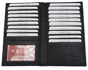 AG Wallets Cowhide Leather Long 23 Credit Card ID /& Cash Holder Wallet Black