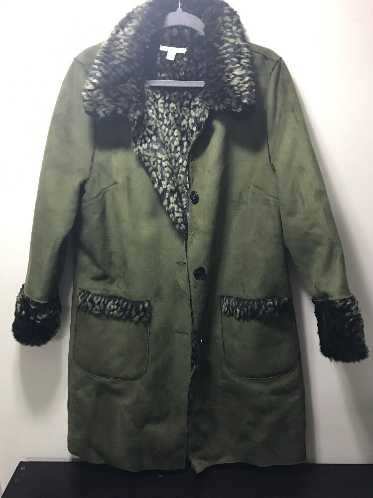 Isaac Mizrahi Live  Button Front Reversible Shearling Coat Size 16 Brown