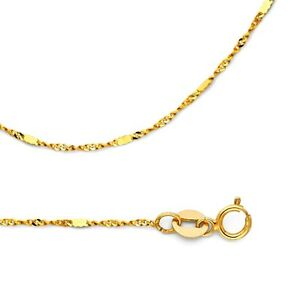 Solid 14k yellow gold necklace singapore chain w bar stamped thin image is loading solid 14k yellow gold necklace singapore chain w aloadofball Image collections