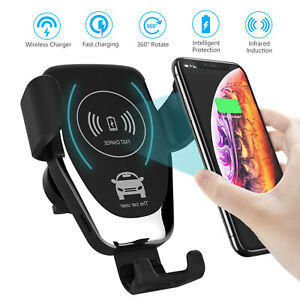 Qi-Auto-KFZ-Handy-Halterung-Halter-plus-Wireless-Ladegeraet-iPhone-Samsung-Huawei