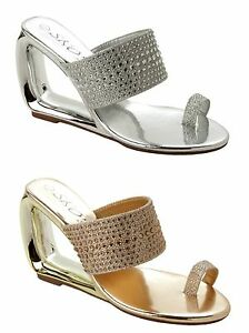 Details about WOMENS DIAMANTE WEDDING PARTY EVENING WEDGE SANDALS LADIES UK SIZE 3 10