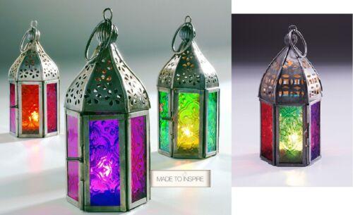 NEW INDIAN MOROCCAN MINI IRON TONAL GLASS LANTERN TEA LIGHT HOLDER HOME /& GARDEN