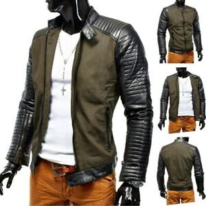 Hommes-Veste-D-039-hiver-Veste-Hells-Devil-Biker-Veste-en-cuir-Steppdesign-Cuir