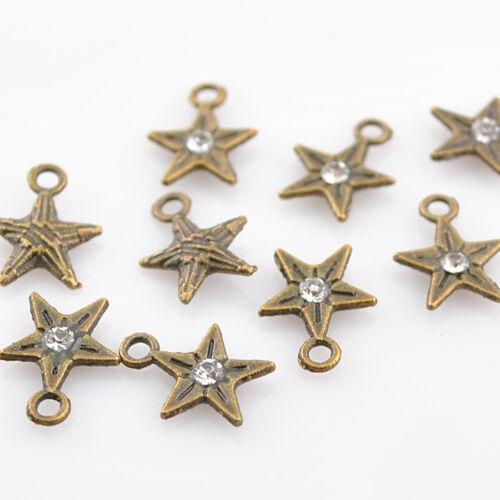 30pcs Anti-brass Alloy Five-pointed Star Jewelry Pendants 8mm