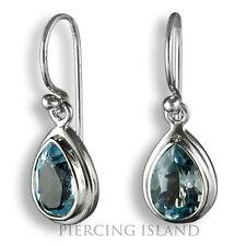 Exclusive Blautopas Blau Topas Ohrringe ECHT 925er Silber Hänger Design SER273