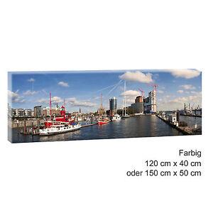 hamburg hafen panorama bild keilrahmen leinwand poster xxl 120 cm 40 cm 492 ebay. Black Bedroom Furniture Sets. Home Design Ideas