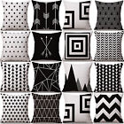 NT Design Black & White Cotton Linen Throw Cushion Cover Pillow Case Home Decor
