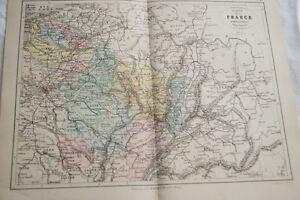 CARTE-ANCIENNE-COULEURS-FRANCE-ADMINISTRATIVE-NORD-EST-1865-ATLAS-BOUILLET-R662