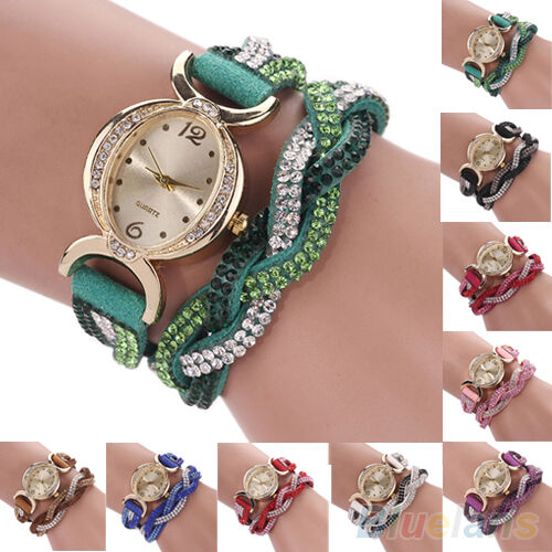 Women's New Vogue Two Tone Rhinestone Wrap Faux Suede Bracelet Wrist Watch