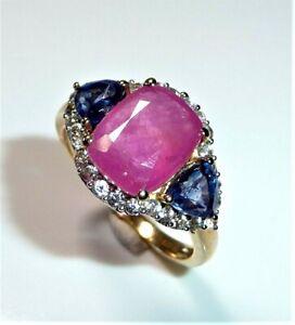 375 Gold-Ring, Harry Ivens 1 Rubino+2 Zaffiri+28 Zirconi Gr.59/18,8 MM 4,3 G