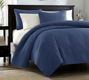 NAVY-BLUE-MATELASSE-3p-Full-Queen-QUILT-SET-COTTON-FILL-QUILT-COVERLET-BEDDING