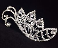 Bridal Flower Girl Floral Leaves Hair Jewelry Comb Clear Crystal Silver Tone