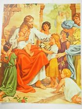 Christ Welcoming The Children Vintage Calendar Color Litho Pin Up Art 8x 10