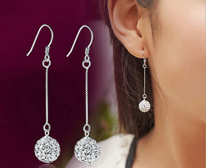 Silver-Plated-Long-Chain-Hook-Earring-Crystal-Ball-Ear-Stud-Drop-Dangle-Earrings