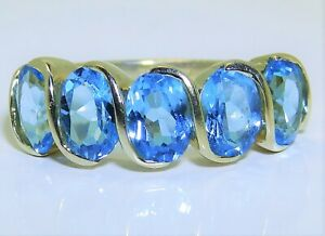 GOLD-AQUA-BLUE-TOPAZ-ETERNITY-RING-9CT-9-CARAT-YELLOW-GOLD-OVAL-CUT-SIZE-L