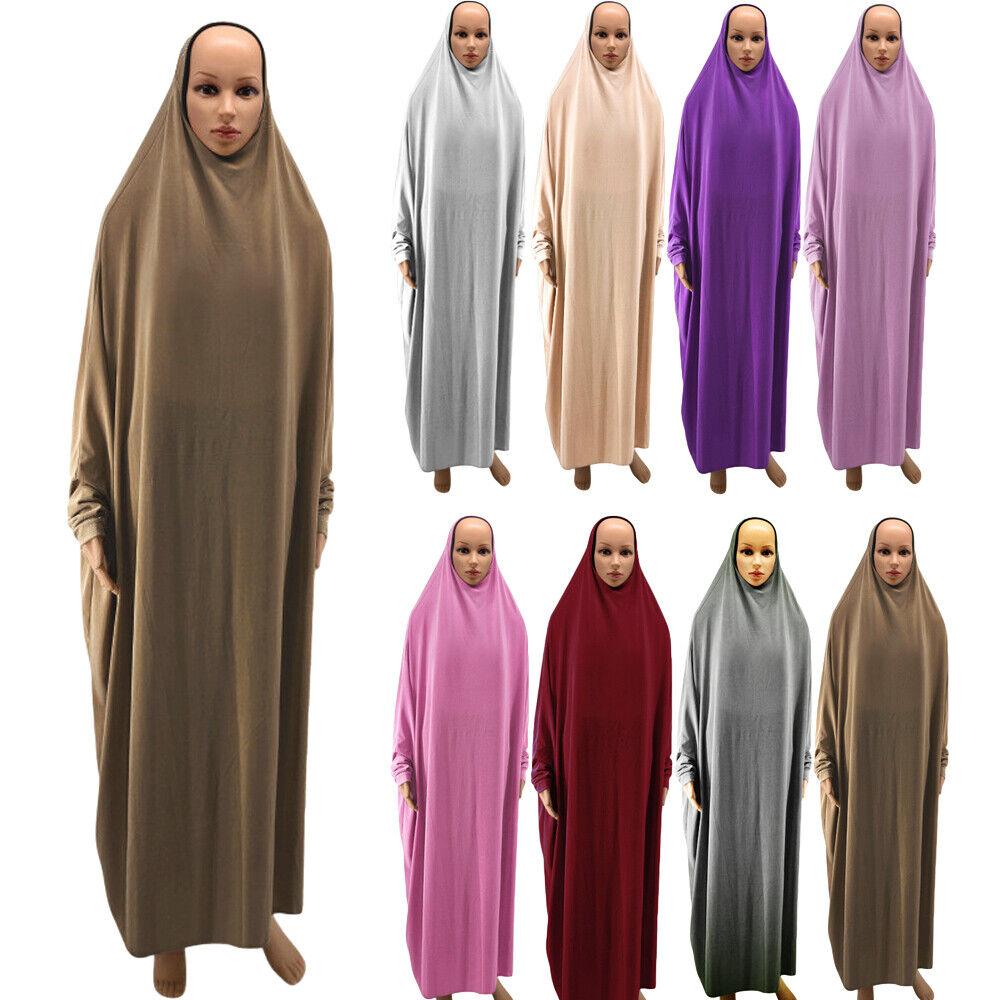 One Piece Prayer Women Muslim Dress Abaya Jilbab Islamic Overhead Hijab Kaftan