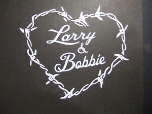 Personalized Barbed Wire Heart Vinyl Decal With Your Custom Names - Barb wire custom vinyl decals for trucks