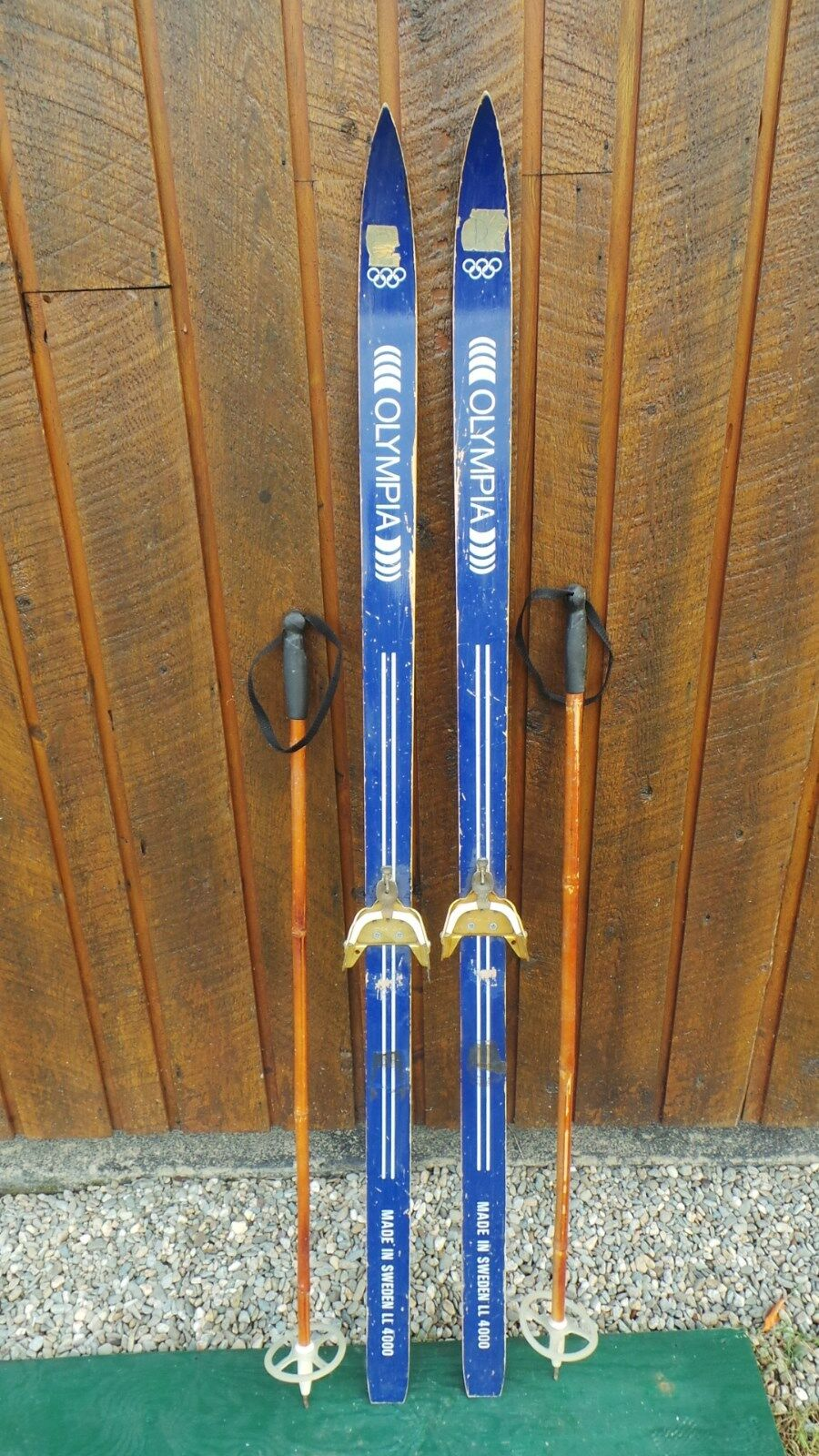 VINTAGE Wooden 62  Skis Has blueE Finish Signed OLYMPIA  + Bamboo Poles  online-shop