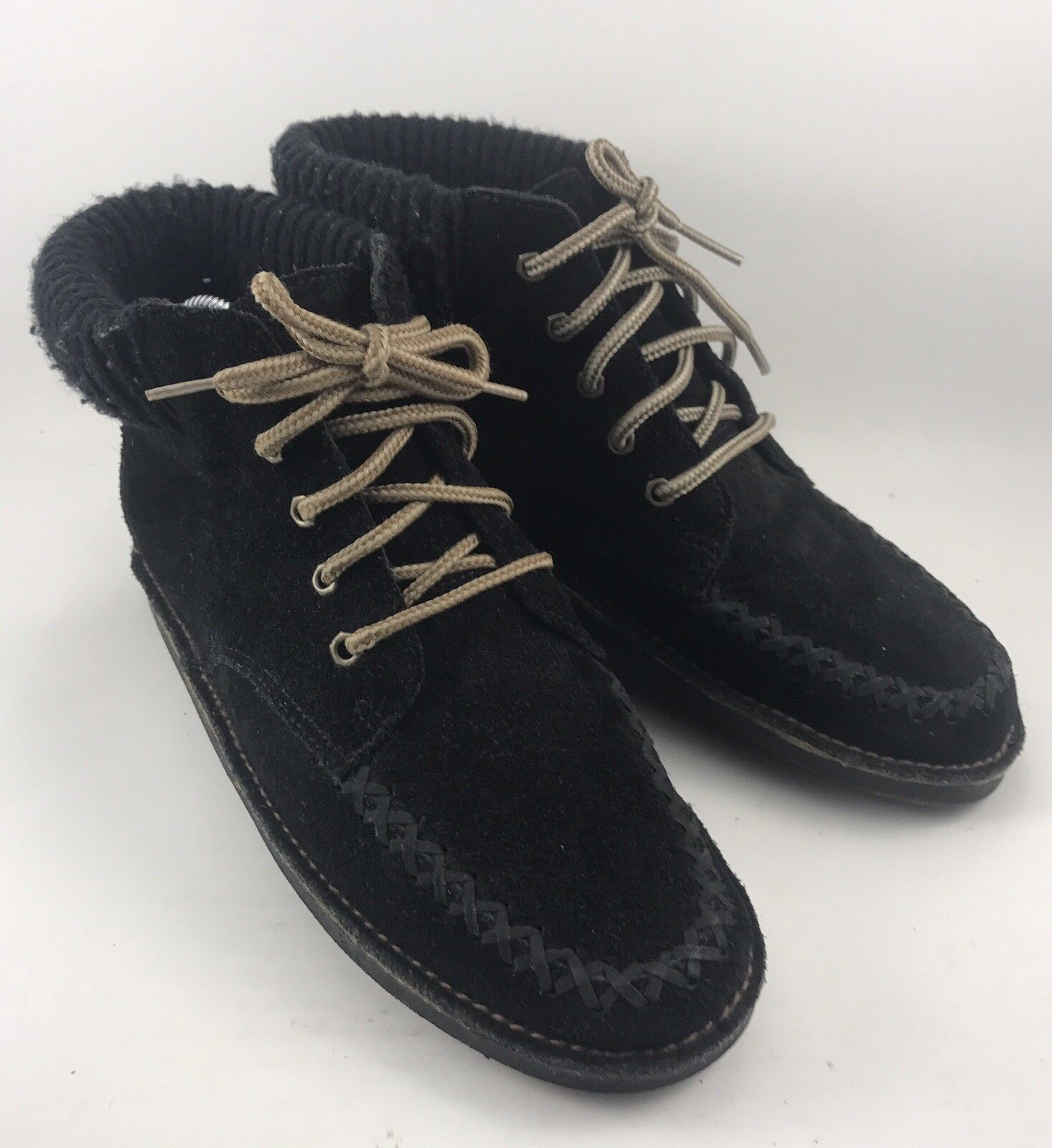 Unlisted Consoles 32057 Womens Size 7.5M Black Suede Leather Moc Ankle Boots-546