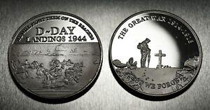 Pair Commemorative WW1 Armistice & WW2 Churchill D-Day Coins in .925 Silver