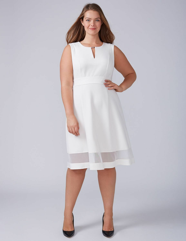New Lane Bryant Womens Dress 26 White Ivory Mesh Hem Fit Flare Sleeveless Pretty