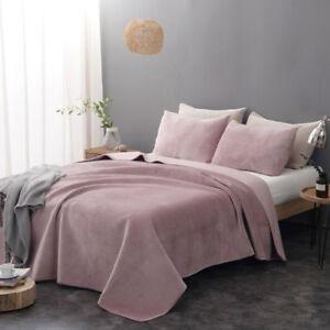 3 Pieces Ultra Soft Flannel Blanket Quilt Bedspread Bedding Coverlet 2 Shams Set