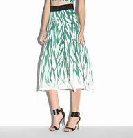 Milly Skirt Brush Stroke Pleat Green White Size 2