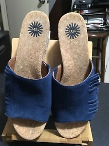 478a31c6f51 Details about Ugg Suede Slides with Fringe Detail and rope Covered Wedge Sz  8.5