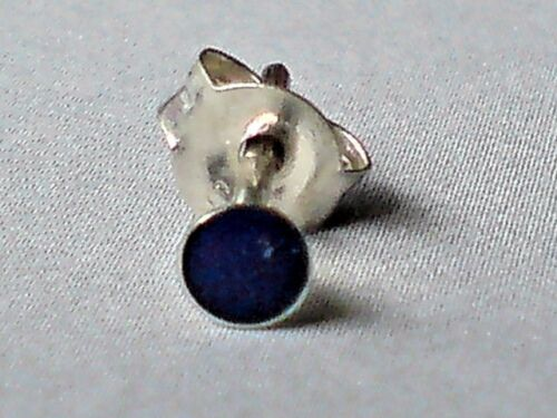 SINGLE STERLING SILVER /& LAPIS SMALL ROUND 3mm STUD EARRING only  £3.50 NWT