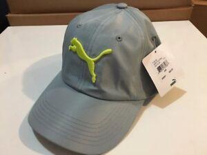 Puma-Adjustable-Cap-Hat-Strapback-Barrett-Gray-Yellow-Logo