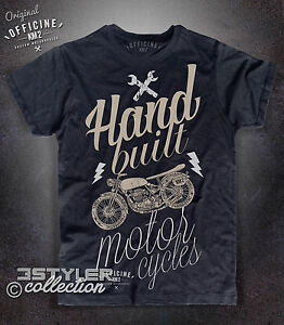 Men's T-shirt HAND BUILT moto motorcycle Vintage custom BMW rider ...