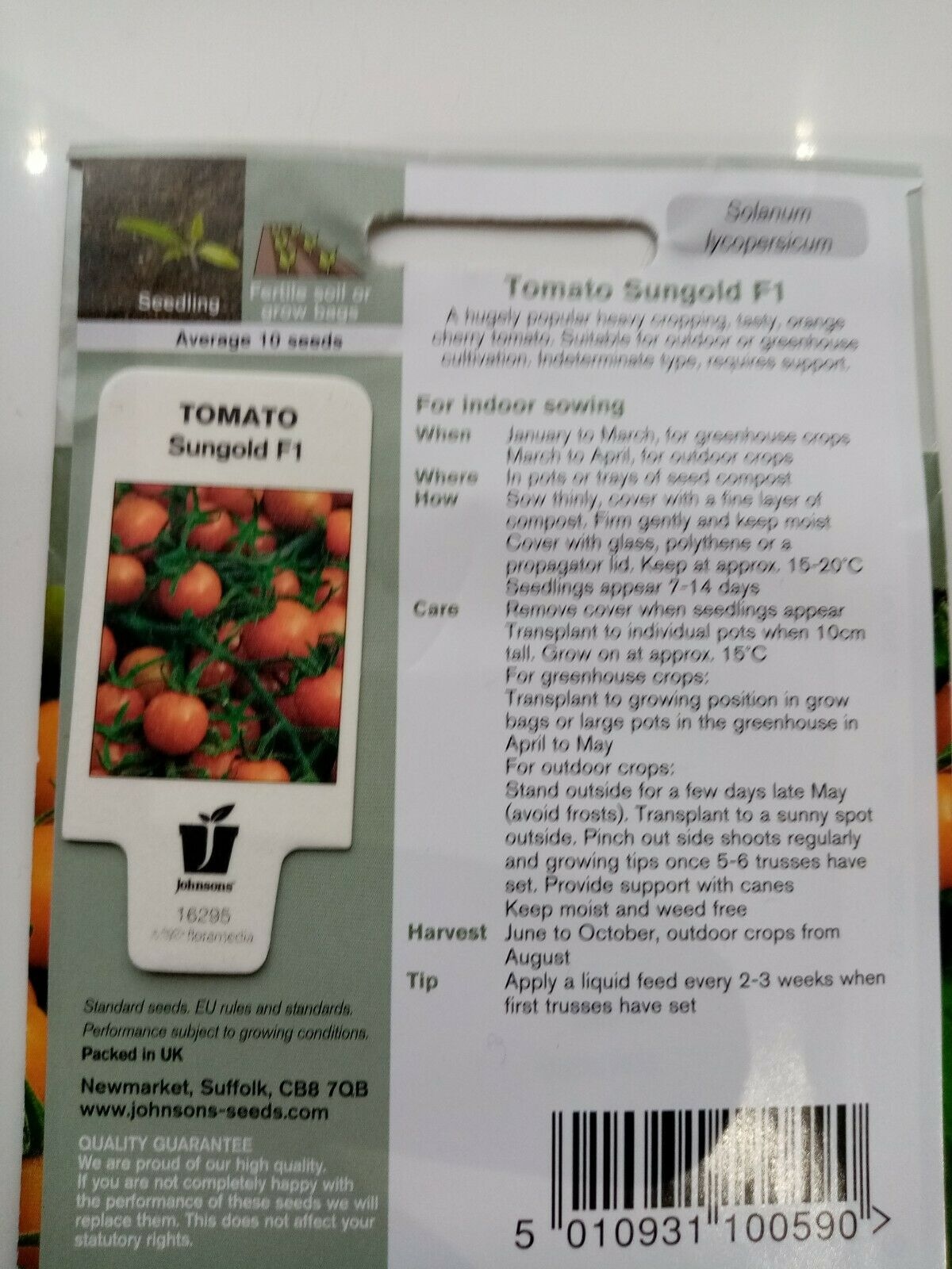 Johnsons Tomato Seeds Sungold F1 Golden Orange Cherry Tomatoes sow by 2025