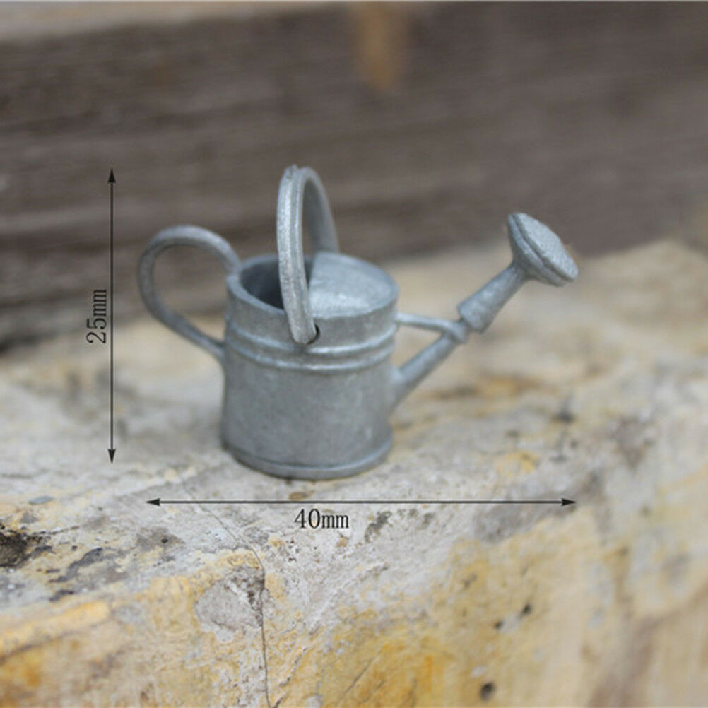1:6//1:12 Metal Watering Can Doll House Miniature Garden Accessory Home Decor LY