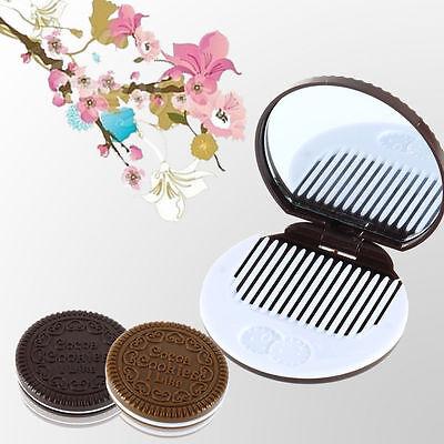 Mini Cute Pocket Magic Chocolate Cookie Compact Makeup Mirror Comb Gift