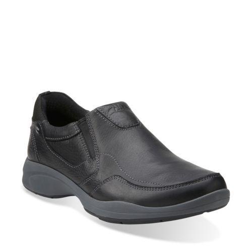 Men's Clarks Wavekorey Slip on 10.5 M Black Leather