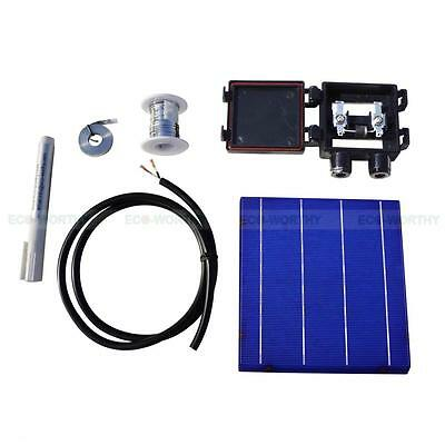 20pc 6x6 Solar Cells KIT DIY 80W Solar Panel w/ Tabbing Wire Bus J-BOX& Flux Pen